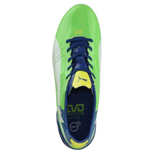 Puma Chaussures De Football Evospeed 3 Fg jasmine green-white-monaco blue-fluo yellow Tifoshop