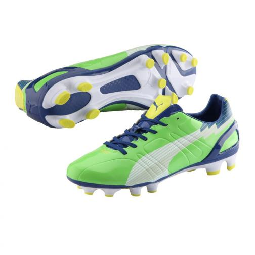 Puma Chaussures De Football Evospeed 3 Fg jasmine green-white-monaco blue-fluo yellow