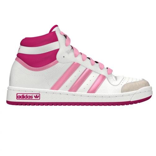 Adidas Originals Shoes Topten Hi K  Junior White Pink