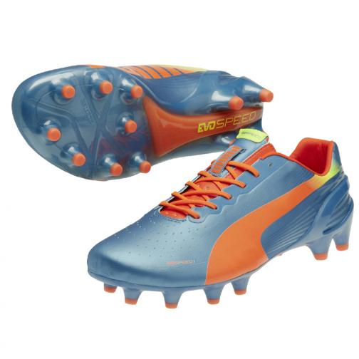 Puma Chaussures De Football Evospeed 1.2 Fg sharks blue-fluro peach-fluro yellow
