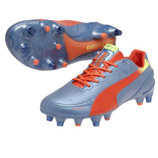 Puma Fußball-schuhe Evospeed 1.2 L Mixed Sg sharks blue-fluro peach-fluro yellow