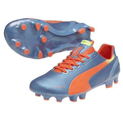 Puma Chaussures De Football Evospeed 2.2 Fg sharks blue-fluro peach-fluro yellow