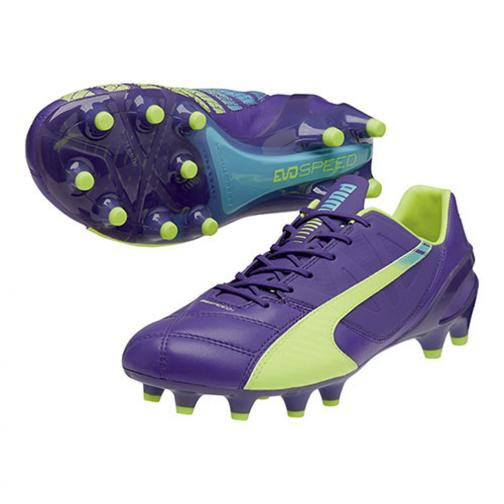 Puma Football Shoes Evospeed 1.3 Lth Fg prism violet-fluro yellow