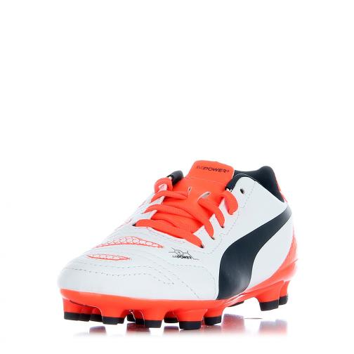 Puma Fußball-schuhe Evopower 4.2 Ag Jr  Juniormode white-total eclipse-fiery coral Tifoshop