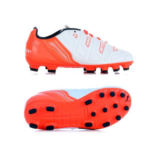 Puma Fußball-schuhe Evopower 4.2 Ag Jr  Juniormode white-total eclipse-fiery coral