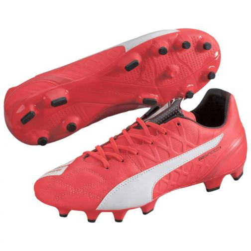 Puma Football Shoes Evospeed 3.4 Lth Fg lava blast-white-total eclipse