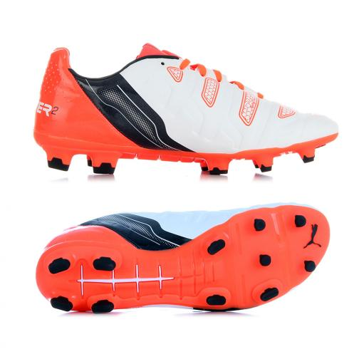 Puma Football Shoes Evopower 2.2 Fg white-total eclipse-fiery coral