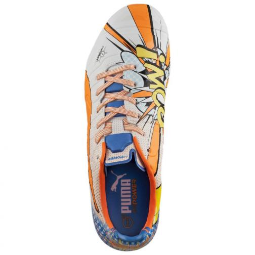 Puma Fußball-schuhe Evopower 1.2 Pop Fg white-orange clown fish-electric blue lemonade Tifoshop