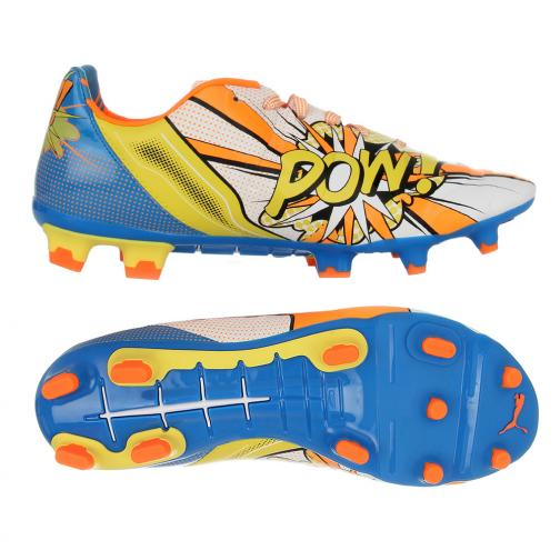 Puma Fußball-schuhe Evopower 2.2 Pop Fg white-orange clown fish-electric blue lemonade