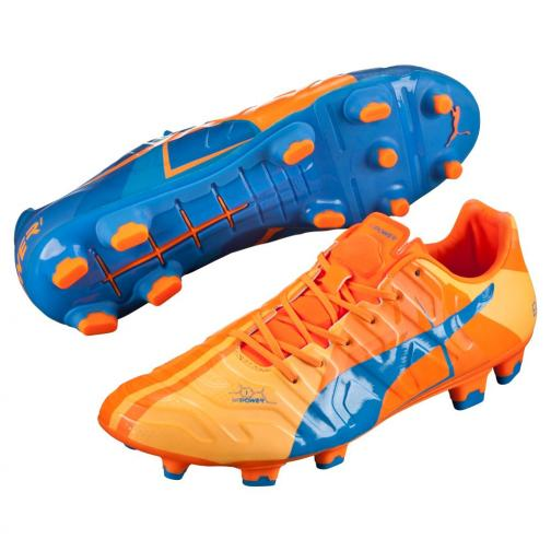 Puma Football Shoes Evopower 1 H2h Fg orange clown fish-electric blue lemonade