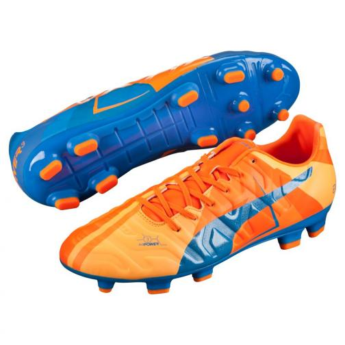 Puma Football Shoes Evopower 3 H2h Fg orange clown fish-electric blue lemonade