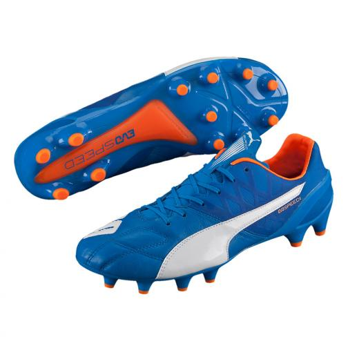 Puma Fußball-schuhe Evospeed 1.4 Lth Fg electric blue lemonade-white-orange clown fish