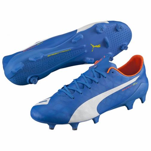 Puma Football Shoes Evospeed Sl Fg electric blue lemonade-white-orange clown fish