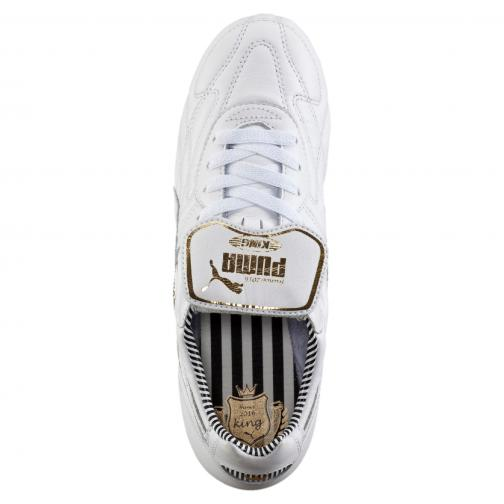 Puma Fußball-schuhe King Top Stripe Di Fg white-white-new navy Tifoshop
