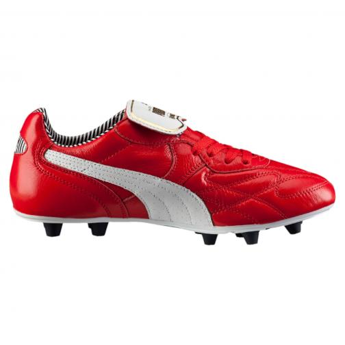 Puma Fußball-schuhe King Top Stripe Di Fg high risk red-white-new navy Tifoshop