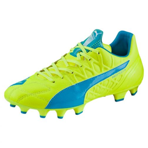 Puma Fußball-schuhe Evospeed 3.4 Lth Fg safety yellow-atomic blue-white Tifoshop