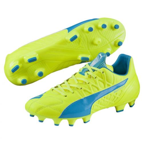 Puma Fußball-schuhe Evospeed 3.4 Lth Fg safety yellow-atomic blue-white