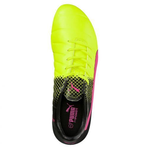 Puma Chaussures De Football Evopower 3.3 Tricks Fg pink glo-safety yellow-black Tifoshop