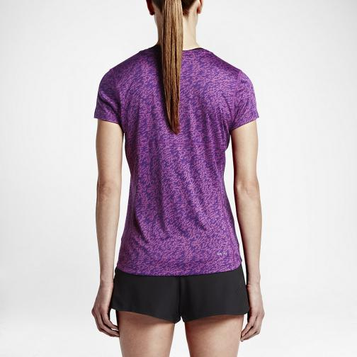 Nike T-shirt Pronto Miler Crew  Woman COSMIC PURPLE/BLACK/REFLECTIVE SILV Tifoshop
