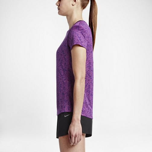 Nike T-shirt Pronto Miler Crew  Damenmode COSMIC PURPLE/BLACK/REFLECTIVE SILV Tifoshop