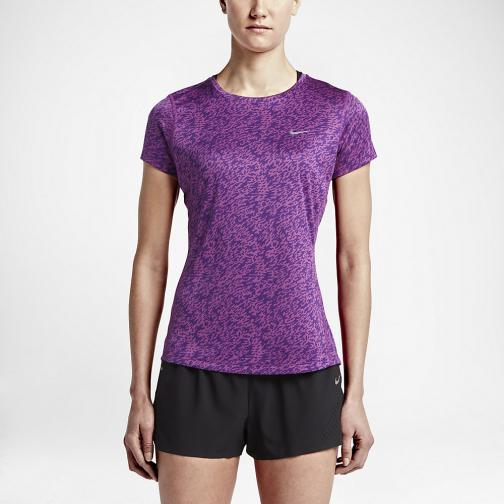 Nike T-shirt Pronto Miler Crew  Woman COSMIC PURPLE/BLACK/REFLECTIVE SILV