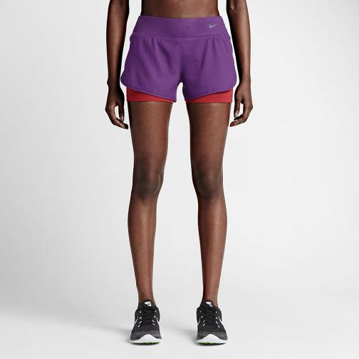 Nike Short Pants 7,5 Cm Rival Jacquard 2-in-1  Woman COSMIC PURPLE/BLACK/REFLECTIVE SILV