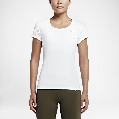 Nike T-shirt Nike Dri-fit Contour Short-sleeve  Femmes White