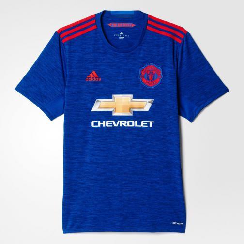 Adidas Maglia Gara Away Manchester United   16/17 Blu Rosso