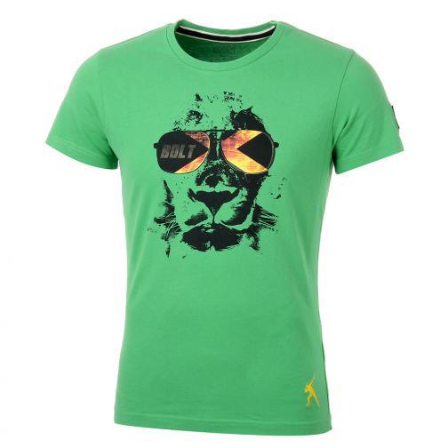 T-shirt Leone  Usain Bolt Verde Vintage