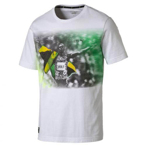 Puma T-shirt Ub Graphic Tee   Usain Bolt Puma White