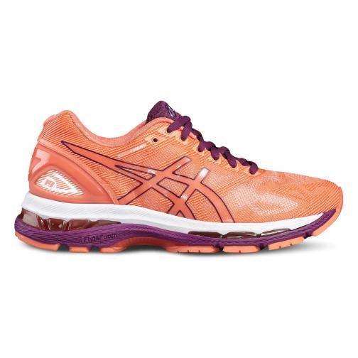 Asics Shoes Gel-nimbus 19  Woman FLASH CORAL/DARK PURPLE/WHITE