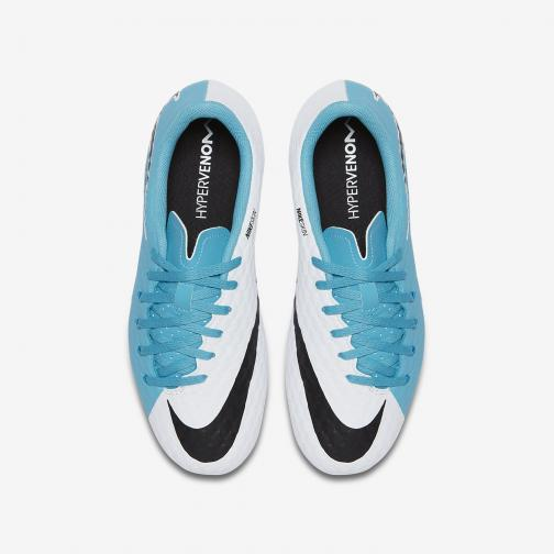 Nike Fußball-schuhe Hypervenomx Phelon 3 Fg  Juniormode WHITE/BLACK-PHOTO BLUE-CHLORINE BLUE Tifoshop