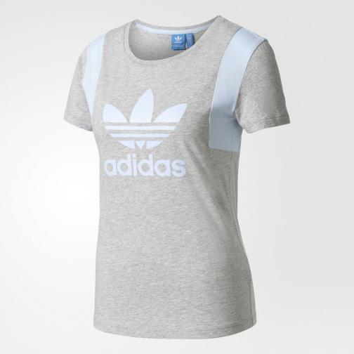 Adidas Originals T-shirt Trefoil Tee  Femmes medium grey heather/easy blue Tifoshop