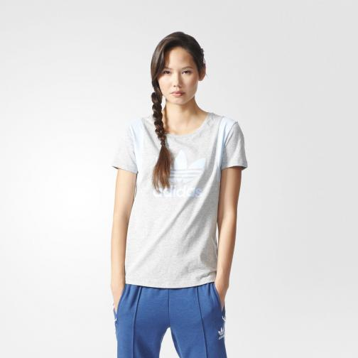 Adidas Originals T-shirt Trefoil Tee  Femmes medium grey heather/easy blue