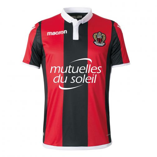 Macron Shirt Home Ogc Nice   17/18 RED/BLACK