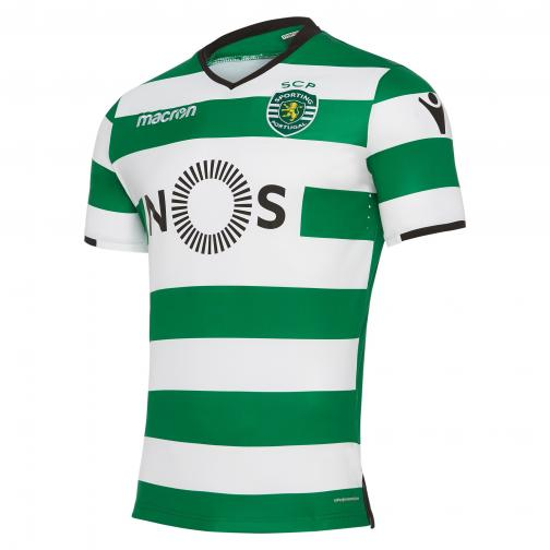 Macron Shirt Home Sporting Lisbona   17/18 White/Green