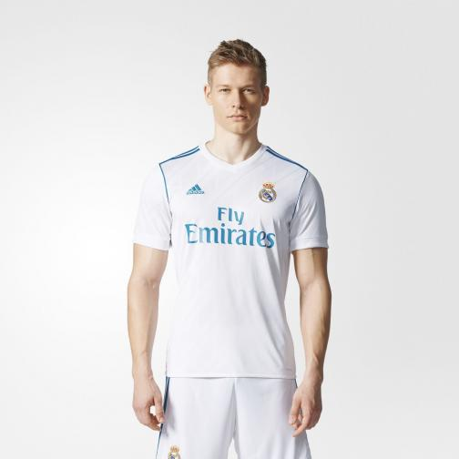 Adidas Maillot De Match Home Real Madrid   17/18 White/Vivid Teal Tifoshop