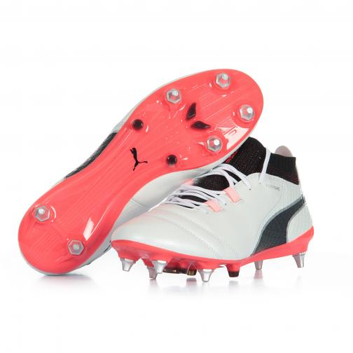 Puma Chaussures De Football One 17.1 Mx Sg PUMA WHITE-PUMA BLACK-FIERY CORAL Tifoshop