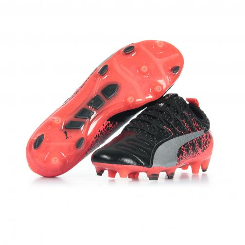 Puma Chaussures De Football Evopower Vigor 1l Graphic Fg PUMA BLACK-SILVER-FIERY CORAL Tifoshop