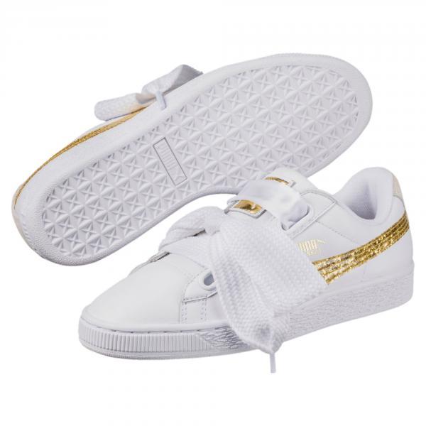Puma Scarpe Basket Heart Glitter  Donna Bianco/Oro Tifoshop
