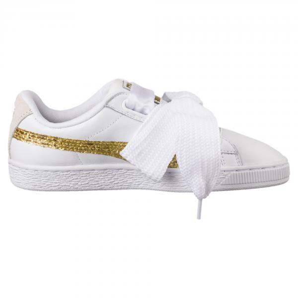 Puma Shoes Basket Heart Glitter  Woman PUMA WHITE-GOLD Tifoshop