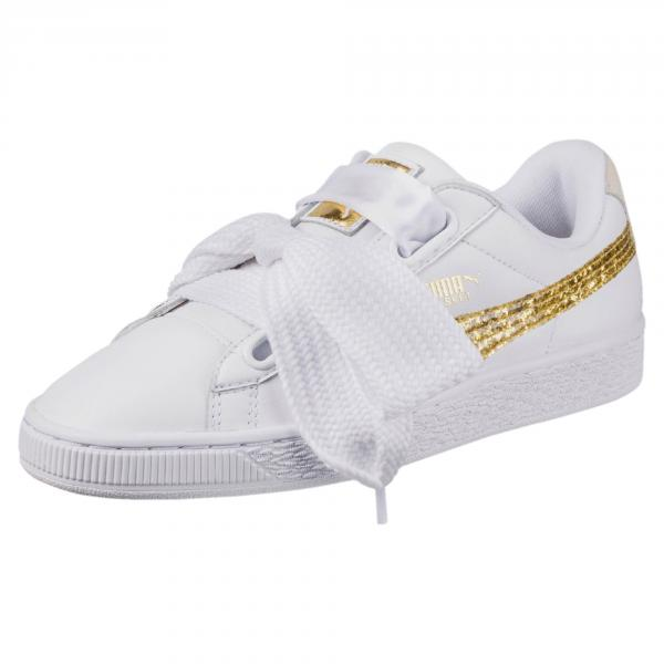 Puma Shoes Basket Heart Glitter  Woman PUMA WHITE-GOLD