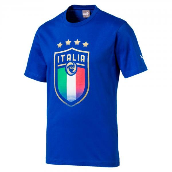 Puma T-shirt Figc Italia Badge Tee Italy Juniormode TEAM POWER BLUE