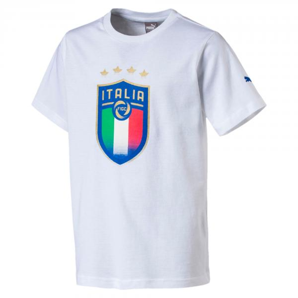 Puma T-shirt Figc Italia Badge Tee Italia Junior Bianco