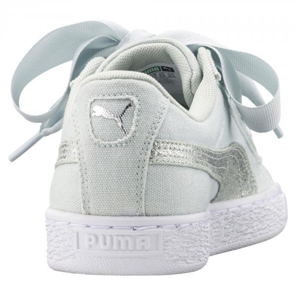 e263e1140dde1f ... Puma Shoes Basket Heart Canvas Woman Blue Flower-Puma White-Puma Silver  Tifoshop ...