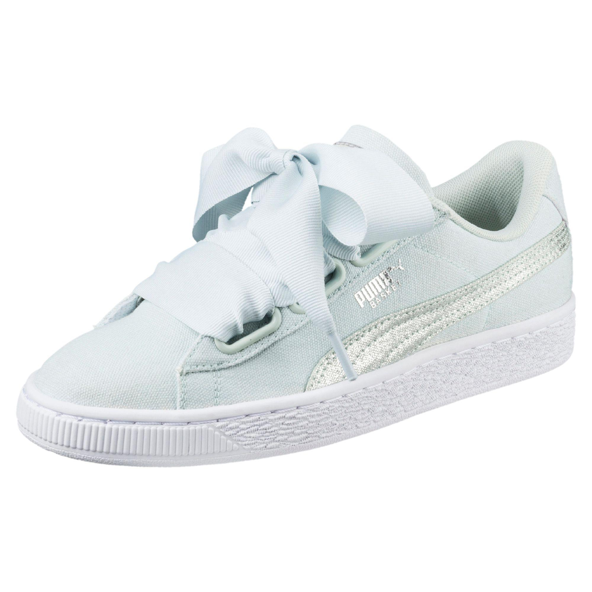 Femmes Puma Canvas Basket White Chaussures Blue Flower Heart T3cFK1lJ