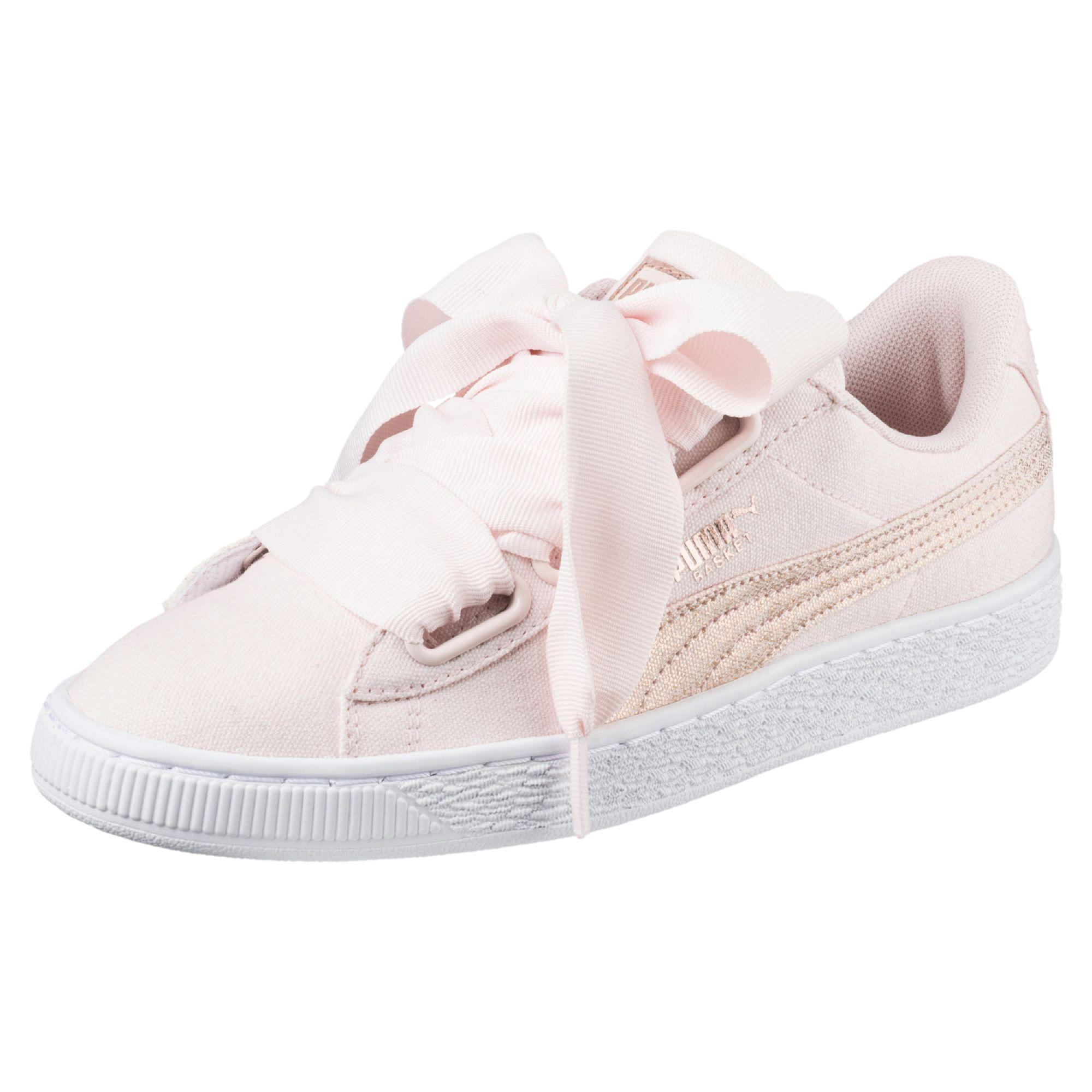 Marques Chaussure femme Puma femme Basket Heart Canvas Wn's Pearl-Puma White-Rose Gold