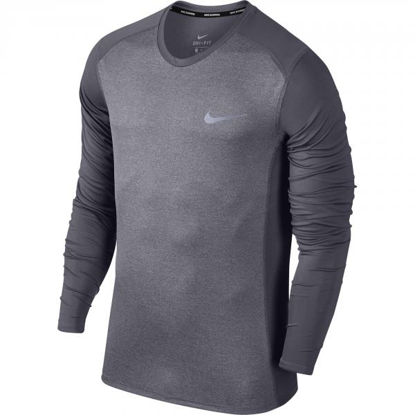 Nike Maglia Miler Long Sleeve Grigio