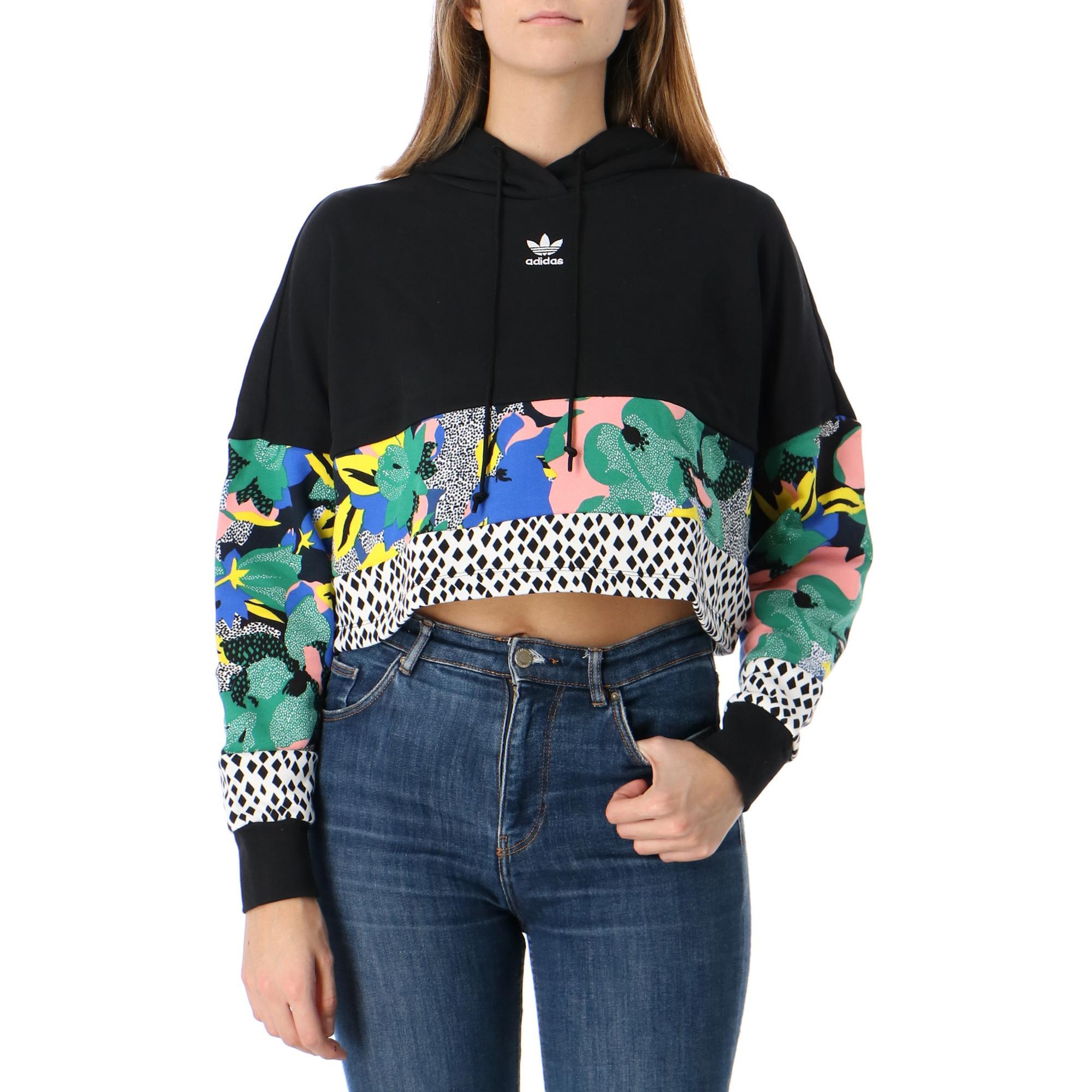 Adidas Cropped Hoodie Black multicolor