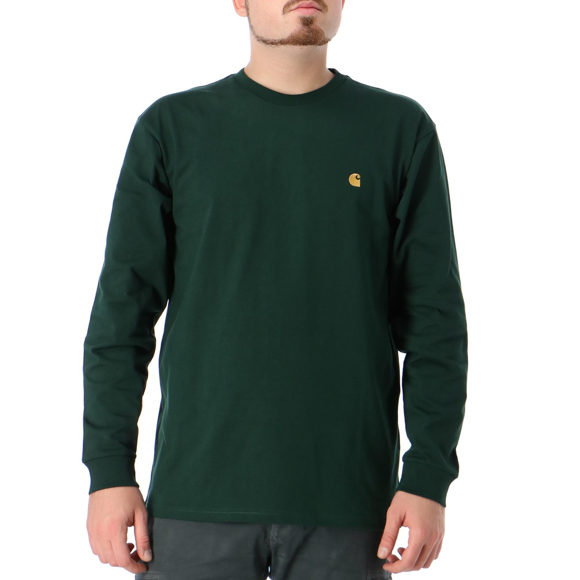 Carhartt L/s Chase T-shirt Bottle green gold